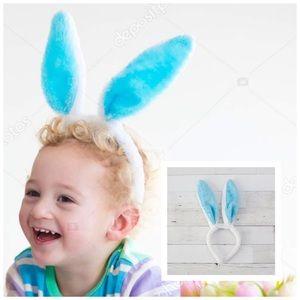 NWT! Blue Furry Bunny Ears Headband